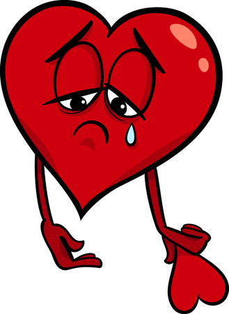 sad love: Cartoon Illustration of Sad Broken Heart in Love on Valentine Day