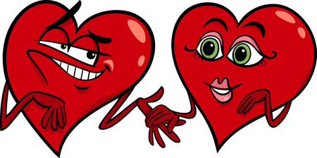 Cartoon Illustration of Two Hearts in Love on Valentine Day