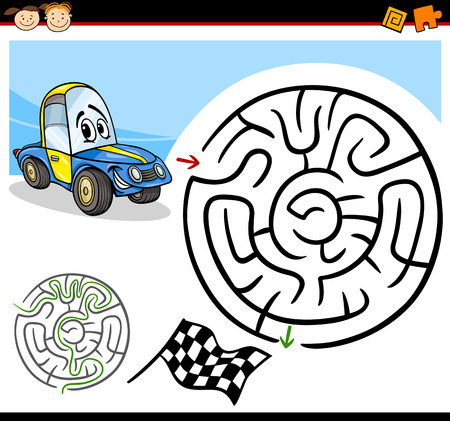 Cartoon Illustration of Education Maze or Labyrinth Game for Preschool Children with Funny Racing Car Character