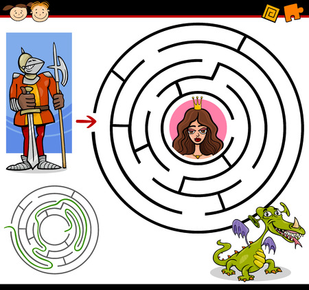 Cartoon Illustration of Education Maze or Labyrinth Game for Preschool Children with Funny Brave Knight and Beautiful Princess Vector
