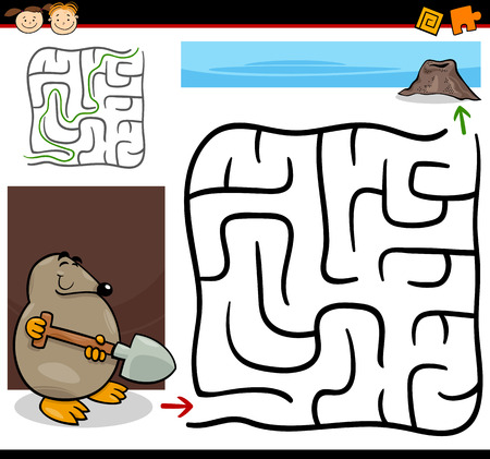 Cartoon Illustration of Education Maze or Labyrinth Game for Preschool Children with Funny Mole with Shovel Vector