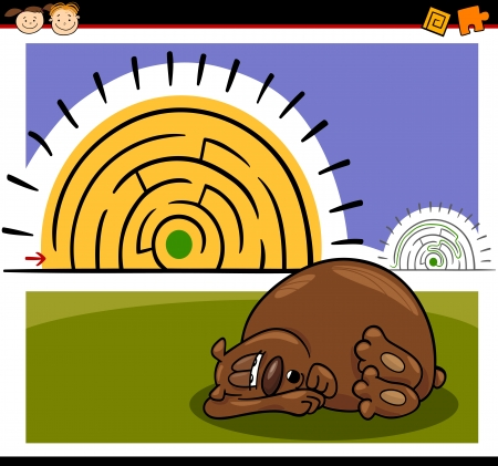 Cartoon Illustration of Education Maze or Labyrinth Game for Preschool Children with Funny Sleeping Bear Animal Vector