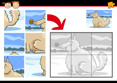 shaggy dog: Cartoon Illustration of Education Jigsaw Puzzle Game for Preschool Children with Funny Shaggy Dog