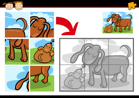jigsaw puzzle: Cartoon Illustration of Education Jigsaw Puzzle Game for Preschool Children with Funny Dog Mum and Puppy