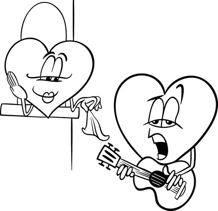 troubadour: Black and White Cartoon Illustration of Heart Troubadour Character singing Love Song on Valentine Day for Coloring Book Illustration