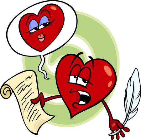poem: Cartoon Illustration of Heart Poet Character reading a Love Poem on Valentine Day
