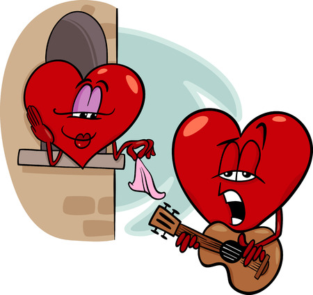 cartoon love: Cartoon Illustration of Heart Troubadour Character singing Love Song on Valentine Day