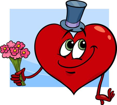 flor caricatura: Ilustración de dibujos animados feliz del carácter del corazón en el amor con flores