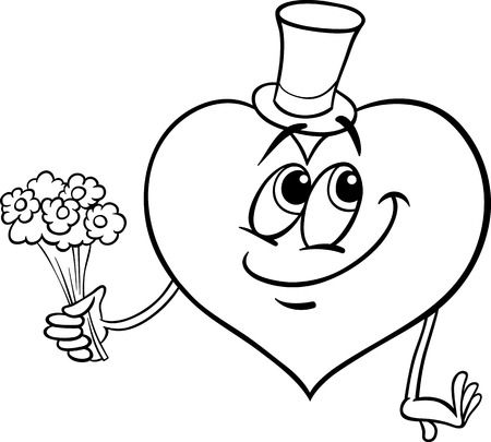 blissful: Black and White Cartoon Illustration of Happy Heart Character in Love with Flowers for Coloring Book