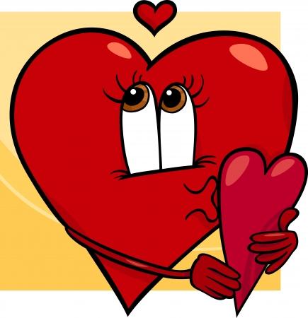 curare teneramente: Cartoon illustrazione di Happy femminile Cuore Personaggio in Love with Cartolina di San Valentino