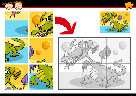 Cartoon Illustration of Education Jigsaw Puzzle Game for Preschool Children with Fantasy Monster or Dragon Vector