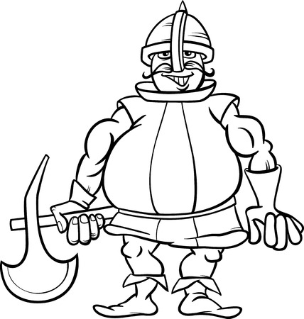 Black And White Cartoon Illustration Of Funny Knight With Axe For Coloring Book Vector