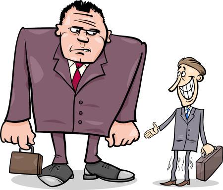 hombre flaco: Cartoon ilustraciones de dos grandes empresarios y Thin Uno