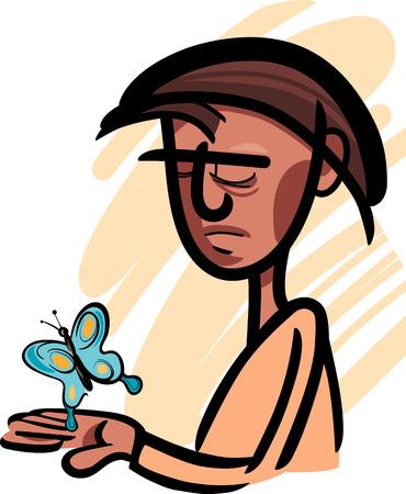 생각에 잠겨있는: 그의 손에 아름다운 나비를 보면 잠겨있는 남자의 삽화