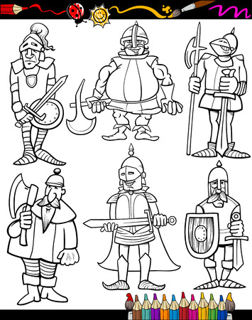 cold steel: Coloring Book or Page Cartoon Illustration Set of Black and White Fantasy or Fairy Tale Knights Characters for Children Illustration