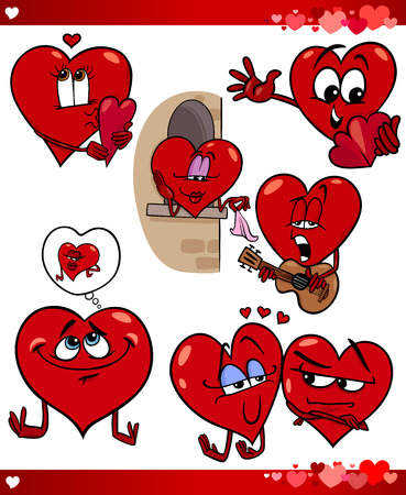 Cartoon Illustration of Cute Valentines Day and Love Themes Collection Set with Funny Hearts Stock Vector - 24019581