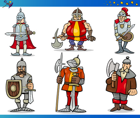 Cartoon Illustrations Set of Fairytale or Fantasy Knights Characters Vector