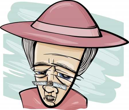 damas antiguas: Dibujo de la historieta Ilustración de la mujer mayor o abuela