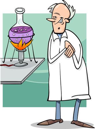 Cartoon Illustration of Funny Scientist in Laboratory Vector