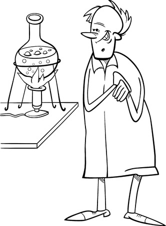 sneer: Black and White Cartoon Illustration of Funny Scientist in Laboratory for Coloring Book