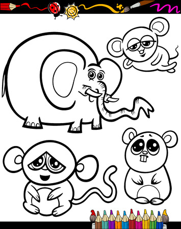 Coloring Book or Page Cartoon Illustration Set of Black and White Animals Mascot Characters for Children Vector
