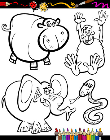 Coloring Book or Page Cartoon Illustration Set of Black and White Wild Animals Mascot Characters for Children Vector