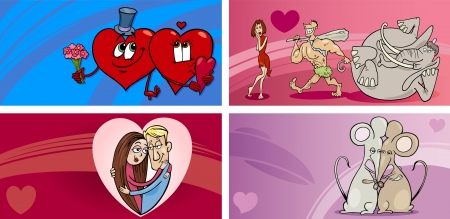 amorous: Cartoon Illustration of Greeting Cards with People in Love and Mascot Characters and other Valentines Day Themes Set
