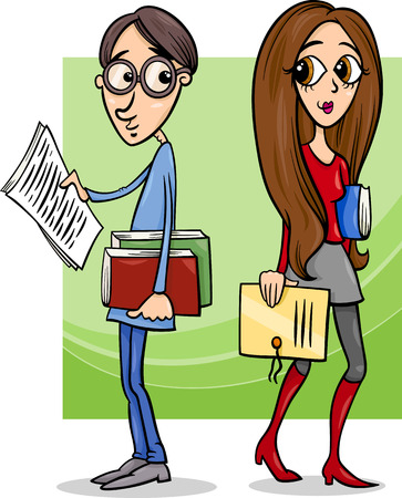 undergraduate: Cartoon Illustration of Cute Students Couple in Love Illustration