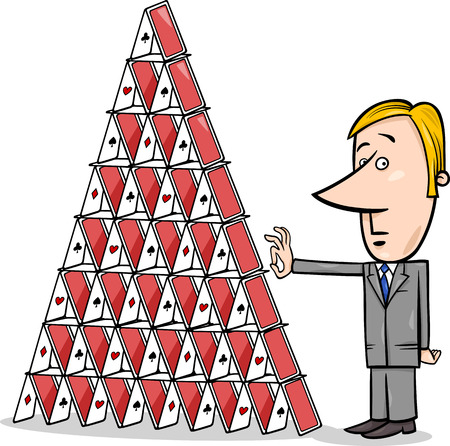 sabotage: Concept Cartoon Illustration of Man or Businessman going to Destroy a House of Cards Illustration