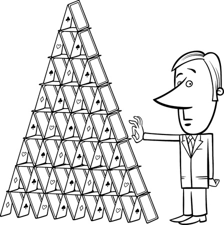 sabotage: Black and White Concept Cartoon Illustration of Man or Businessman going to Destroy a House of Cards Illustration