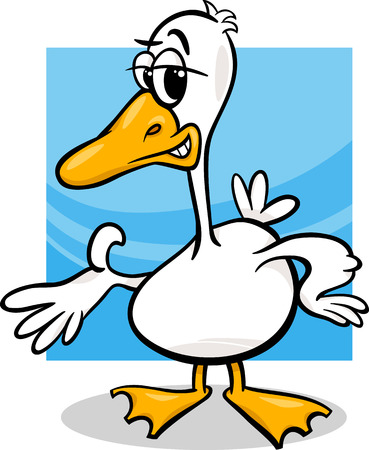 Cartoon Illustration of Funny Duck or Goose Farm Bird Character Vector