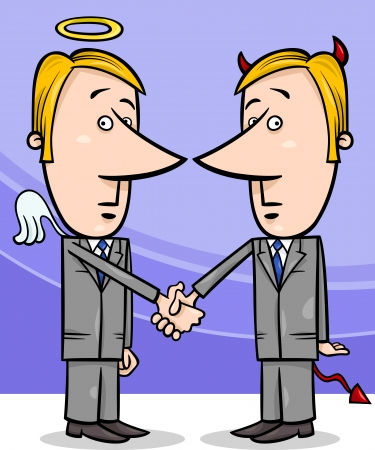 Concept Cartoon Illustration of Angel and Devil Businessmen or Politicians Shaking Hands Vector