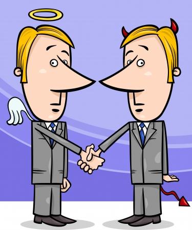 politicians: Concept Cartoon Illustration of Angel and Devil Businessmen or Politicians Shaking Hands