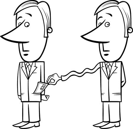 extortion: Black and White Concept Cartoon Illustration of Man or Businessman and Tax Collector or Thief