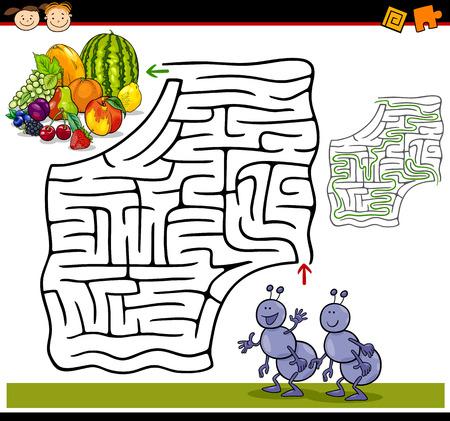 Cartoon Illustratie van Onderwijs doolhof of labyrint spel voor kleuters met Funny Mieren en fruit
