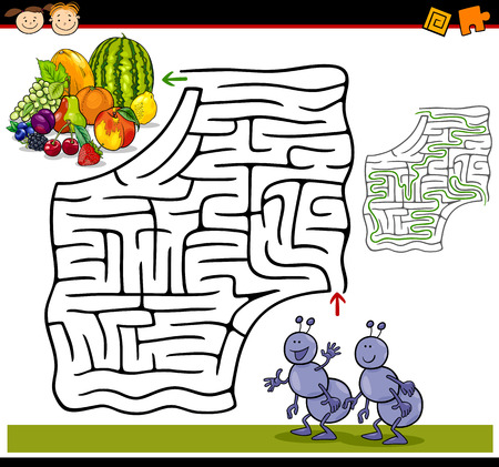 Cartoon Illustration of Education Maze or Labyrinth Game for Preschool Children with Funny Ants and Fruits Ilustração