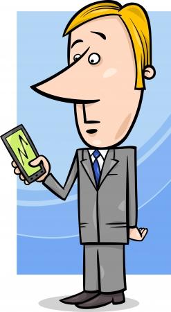 telefono caricatura: Cartoon ilustración del concepto del hombre o de negocios que mira el gráfico en su teléfono o Tablet