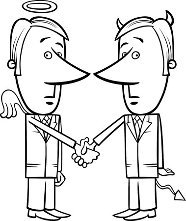 Black and White Concept Cartoon Illustration of Angel and Devil Businessmen or Politicians Shaking Hands Vector