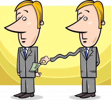 bolsa dinero: Cartoon ilustración del concepto del hombre o del hombre de negocios y Recaudador de Impuestos o Thief Vectores