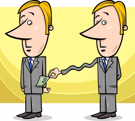 extortion: Concept Cartoon Illustration of Man or Businessman and Tax Collector or Thief