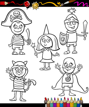 Coloring Book or Page Cartoon Illustration Set of Black and White Cute Little Children Characters in Ball Costumes Vector