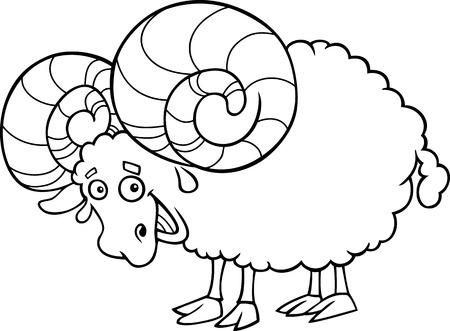 aries: Blanco y Negro Ilustración de dibujos animados del zodiaco Aries o Carnero para Coloring Book Vectores