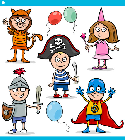 Cartoon Illustration of Cute Children in Fancy Ball Costumes Characters Set Vector