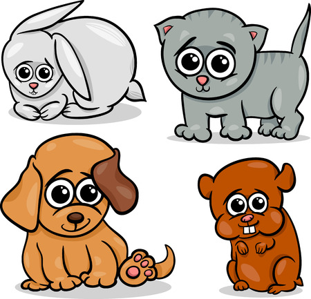 Cartoon Illustration of Cute Little Baby Pets Animals Set Vector