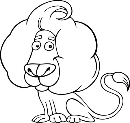 Black and White Cartoon illustration of Zodiac Leo or Lion Wild Animal for Coloring Book Vector
