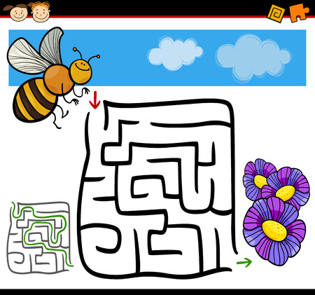 Cartoon Illustration of Education Maze or Labyrinth Game for Preschool Children with Funny Bee and Flowers Vector