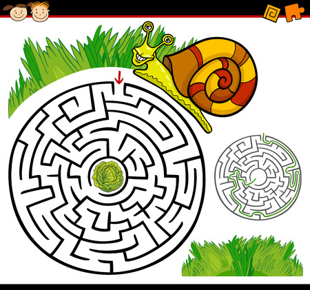 maze game: Cartoon Illustration of Education Maze or Labyrinth Game for Preschool Children with Funny Snail and Lettuce or Cabbage Illustration