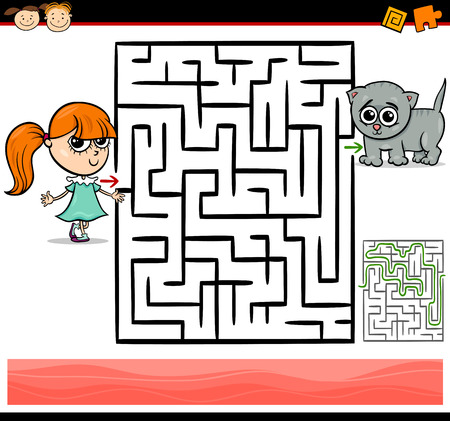 Cartoon Illustration of Education Maze or Labyrinth Game for Preschool Children with Cute Little Girl and Baby Kitten Illustration