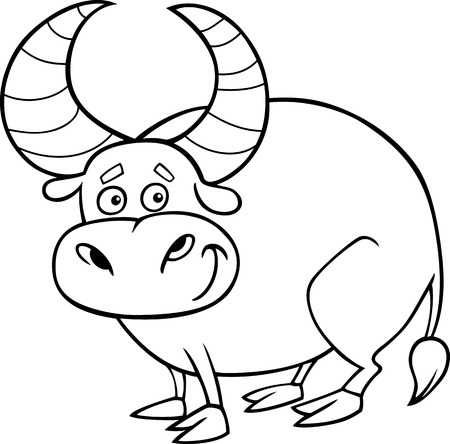 bullock: Black and White Cartoon illustration of Zodiac Taurus or Bull Animal for Coloring Book
