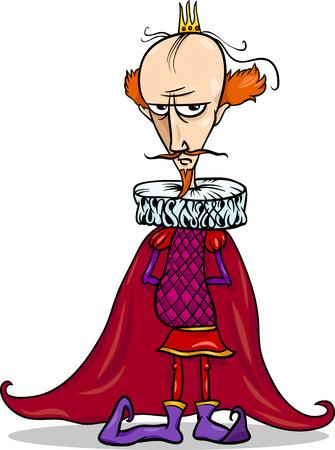 cruel: Cartoon Illustration of Funny King Fairytale Fantasy Character Illustration